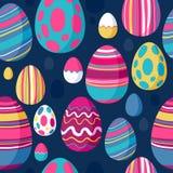 Modello variopinto senza cuciture delle uova di Pasqua Parte posteriore del blu Immagini Stock Libere da Diritti