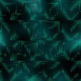 Modello verde astratto nello stile di tecnologia della matrice Fotografia Stock