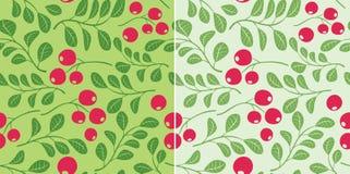 Modello verde chiaro con le bacche - senza cuciture Illustrazione di Stock