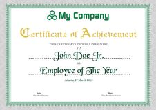 Modello verde del certificato Fotografia Stock