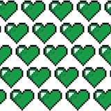 Modello verde del cuore del pixel Fotografia Stock