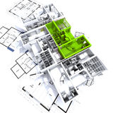 Modello verde dell'appartamento sull'azzurro illustrazione vettoriale