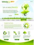 Modello verde di Web site di vettore di eco con lighbulb Immagini Stock Libere da Diritti
