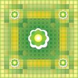 Modello verde e giallo senza cuciture con il fiore Fotografie Stock