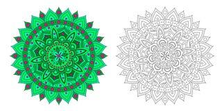 Modello verde e rosa della mandala che colora il modello di anti-sforzo per colorare illustrazione vettoriale
