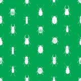 Modello verde senza cuciture semplice degli scarabei e degli insetti Immagine Stock