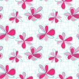 Modello verticale senza cuciture con i fiori astratti su fondo geometrico Fotografie Stock Libere da Diritti