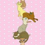 Modello verticale senza cuciture di vettore con i gatti illustrazione vettoriale