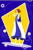 Modello in vestito blu e bianco Fotografia Stock