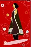 Modello in vestito nero contro priorità bassa rossa Immagine Stock
