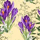 Modello viola floreale senza cuciture dei fiori e delle erbe del croco su un fondo giallo illustrazione vettoriale
