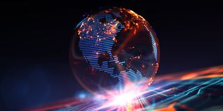 Modello virtuale delle comunicazioni digitali della terra illustrazione di stock