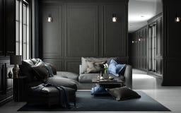 Modello vivente interno dello studio, stile classico nero, renderin 3D Immagini Stock