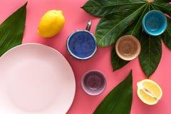Modello vuoto del piatto Tazze e piatti vicino alle foglie tropicali e frutti sulla vista superiore del fondo rosa Fotografia Stock Libera da Diritti