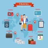 Modello Web piano di concetto di stile di infographics di viaggio Immagine Stock