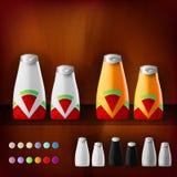 Modellschablone für das Einbrennen und die Konzeptionen des Produkts Lokalisierte realistische Plastikflaschen mit Zufuhrspray un Lizenzfreies Stockfoto