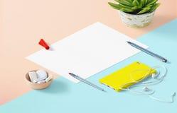 Modellszene, Papierfreier raum mit Dekoration für die Platzierung Ihres Designs Stockfotos