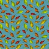 Modelltextur lämnar bakgrundstapeten färgrik garnering för konstdesigntextilen grönt gult rött royaltyfri illustrationer