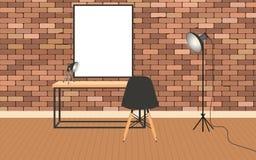 Modellvardagsruminre i hipsterstil med ramen, tabellen, lampor och tegelstenväggen stock illustrationer