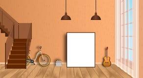 Modellvardagsruminre med den tomma ramen, cykeln, gitarren, det wood golvet och trappan för andra golv vektor illustrationer