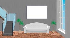Modellvardagsruminre med den tomma ramen, soffan, tegelstengolvet och trappan för andra golv vektor illustrationer