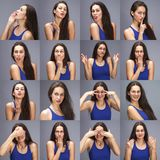 Modellversuch-Collage von Gefühlen - Porträt einer jungen schönen brunette Frau auf einem grauen Hintergrund stockfotos