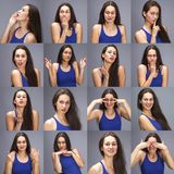 Modellversuch-Collage von Gef?hlen - Portr?t einer jungen sch?nen brunette Frau auf einem grauen Hintergrund lizenzfreie stockbilder