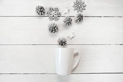 Modellvit rånar med julkottar och stjärnor, på en vit träbakgrund Lekmanna- lägenhet, fotoåtlöje för bästa sikt upp Royaltyfri Fotografi