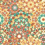 Modelo étnico colorido inconsútil con las mandalas en estilo oriental Los tapetitos redondos con amarillo, anaranjado, marrón, ve Fotos de archivo libres de regalías