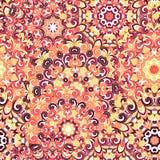 Modelo étnico colorido inconsútil con las mandalas en estilo oriental Los tapetitos redondos con amarillo, anaranjado, marrón se  Imagen de archivo libre de regalías