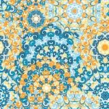 Modelo étnico colorido inconsútil con las mandalas en estilo oriental Los tapetitos redondos con azul, anaranjado, amarillo se en Imagen de archivo libre de regalías