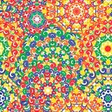 Modelo étnico colorido inconsútil con las mandalas en estilo oriental Los tapetitos redondos con rojo, verde, amarillo, anaranjad Imágenes de archivo libres de regalías