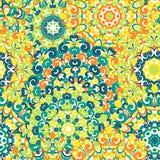 Modelo étnico colorido inconsútil con las mandalas en estilo oriental Tapetitos redondos con los rizos verdes, amarillos, de la n Imagen de archivo libre de regalías