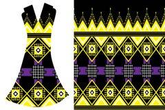 Modelo étnico geométrico Vestido del ` s de las mujeres del ejemplo de la moda del vector ilustración del vector