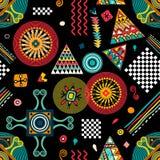 Modelo étnico inconsútil del vector Contexto colorido con los elementos abstractos abstraiga el fondo stock de ilustración