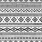 Modelo étnico inconsútil handmade Rayas horizontales Negro y Imagen de archivo