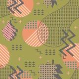 Modelo único impresionante del vector del follaje de otoño del otoño con el extracto colorido de moda geométrico de Memphis Hojas foto de archivo