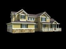 modelo 3d da casa de dois níveis Imagens de Stock Royalty Free