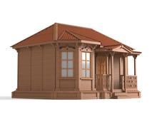 modelo 3D da casa de madeira Fotos de Stock