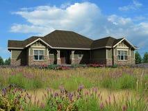 modelo 3d da casa de rancho Imagem de Stock Royalty Free