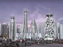 modelo 3d de la ciudad de la ciencia ficción stock de ilustración
