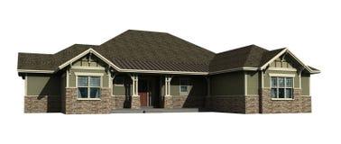 modelo 3d de una casa llana Imagenes de archivo