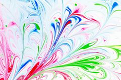 Modelo abstracto, arte tradicional de Ebru Pintura de la tinta del color con las ondas Fondo floral Foto de archivo libre de regalías