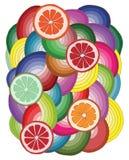 Modelo abstracto con la fruta cítrica multicolora Fotos de archivo