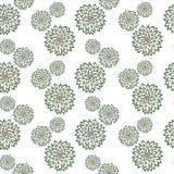Modelo abstracto con las flores verdes dibujadas mano Utilizado para la materia textil, papel de embalaje, papel pintado, reserva Foto de archivo