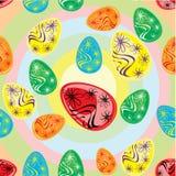 Modelo abstracto con los huevos de Pascua Imagenes de archivo