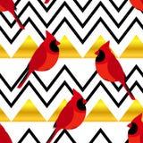 Modelo abstracto con los triángulos rojos del cardenal y del oro Ornamento para las materias textiles y envolver Vector libre illustration