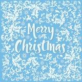 Modelo abstracto del hielo del invierno de la Navidad con los copos de nieve en fondo azul Ilustración del vector Fotos de archivo