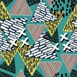 Modelo abstracto del triángulo con multicolor dibujada mano foto de archivo