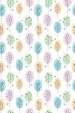 Modelo abstracto dibujado mano linda del vector de los árboles Colores en colores pastel, fondo blanco Tema del arbolado stock de ilustración